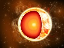 在显示它的外层空间的太阳例证是核心 库存例证