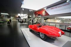 在显示的一个雄伟阿尔法・罗密欧1900 C52迪斯科Volante模型在历史博物馆阿尔法・罗密欧 免版税库存照片