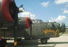 在显示的一架WWII B-24轰炸机 免版税图库摄影