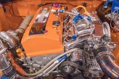 在显示的丰田卡罗拉1986年引擎 库存图片