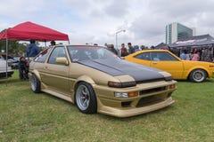 在显示的丰田卡罗拉1986年 免版税库存照片