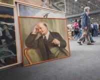 在显示的列宁绘画在Militalia在米兰,意大利 图库摄影