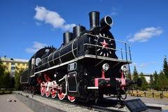 在显示的历史的蒸汽机车在阿斯塔纳 免版税库存照片