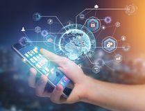在显示的国际企业网络连接futuris 免版税库存照片
