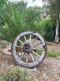 在显示的土气马车车轮 免版税库存照片