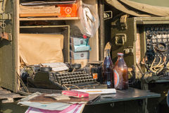 在显示的打字机在一个被重建的军营 免版税库存照片