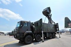 在显示的新加坡空军队(RSAF) SHIKRA低级对空监视雷达共和国在新加坡Airshow 免版税库存图片