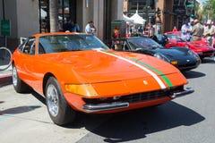 在显示的法拉利365 GTB4汽车 免版税库存图片