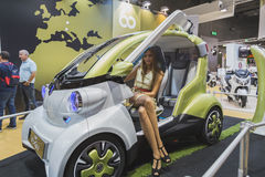 在显示的电车在EICMA 2014年在米兰,意大利 免版税图库摄影