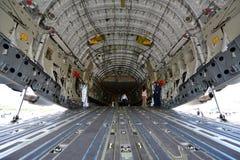 在显示的美国空军C-17 Globmaster军事运输者在新加坡Airshow 库存照片