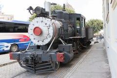 在显示的老火车在哈瓦那,古巴 库存照片