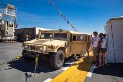 在显示的装甲的军事Humvee 免版税图库摄影
