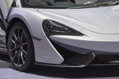 在显示的迈凯轮体育超级汽车在汽车展示会2019年 免版税库存图片