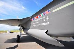 在显示的洛克西德・马丁F-35闪电II秘密行动多角色联合罢工战斗机在新加坡Airshow 2012年 免版税图库摄影