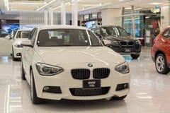 在显示的BMW 116i汽车在泰国模范购物中心在曼谷 免版税库存图片