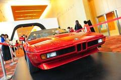 在显示的BMW M1经典跑车在BMW世界2014年 库存照片