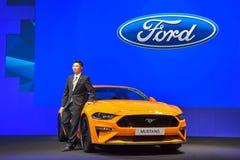 在显示的Ford Mustang汽车在第35泰国国际M 免版税库存图片