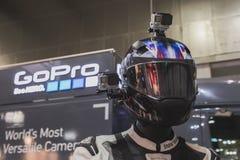 在显示的GoPro照相机在EICMA 2014年在米兰,意大利 免版税库存照片