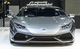 在显示的Lamborghini Aventador在第37个曼谷国际汽车展示会 免版税库存图片