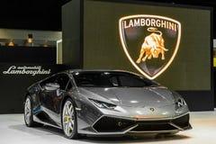在显示的Lamborghini Aventador在第37个曼谷国际汽车展示会 库存照片