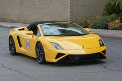 在显示的Lamborghini Gallardo敞篷车汽车 库存图片