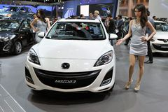 在显示的Mazda 3在一个车展在曼谷 免版税库存图片