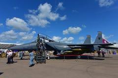 在显示的RSAF F-15SG老鹰在新加坡Airshow 免版税图库摄影