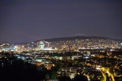 在晚上全景视图瑞士的苏黎世都市风景 库存照片