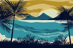 在晚上场面的海滩 免版税库存图片