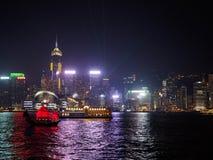 在晚上期间,香港地平线  图库摄影