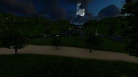 在晚上浇灌运河和船从绿色高地 皇族释放例证