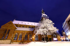 在晚上覆以圆顶正方形在老里加,拉脱维亚 免版税图库摄影
