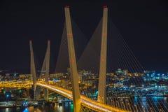 在晚上观看城市,横跨海湾的桥梁在晚上,有很多明亮的光 库存照片