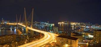 在晚上观看城市,横跨海湾的桥梁在晚上,有很多明亮的光 库存图片