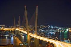 在晚上观看城市,横跨海湾的桥梁在晚上,有很多明亮的光 免版税库存图片