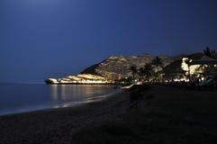 在晚上阿曼附近的海湾美丽的麝香葡萄 库存图片