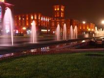 在晚上风景的制造业 免版税库存图片