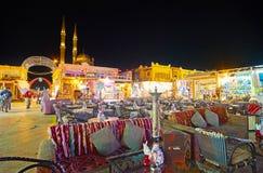 在晚上, Sharm El谢赫,埃及放松 免版税库存图片
