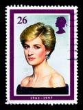 在晚礼服, 1987年,戴安娜,威尔士王妃记念serie,大约1998年 免版税库存照片