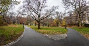 在晚秋天-纽约,美国期间的中央公园走道 免版税库存图片