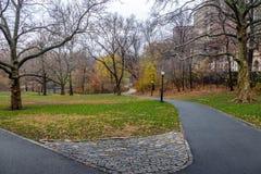 在晚秋天-纽约,美国期间的中央公园走道 库存照片