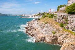 在普利茅斯的海岸线 免版税图库摄影