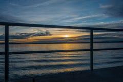 在普吉特海湾日落 免版税库存照片