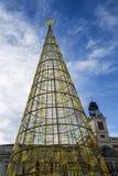 在普埃尔塔del Sol马德里的圣诞树 免版税库存照片