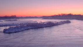 在普拉特河的冬天 免版税库存照片
