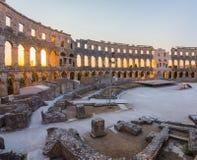 在普拉的古老罗马圆形剧场里面,克罗地亚 免版税库存图片