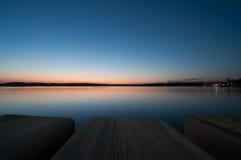 在普拉,克罗地亚的日落 库存照片