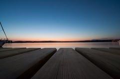 在普拉,克罗地亚的日落 免版税图库摄影
