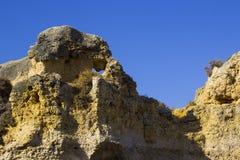 在普腊亚da Oura海滩的典型的被暴露的沉淀沙子石头峭壁面孔在Albuferia 免版税库存图片