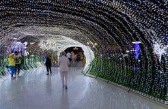 在普遍的购物的均匀照明和娱乐复杂伦敦苏豪区在晚上, Sharm El谢赫,埃及摆正 图库摄影